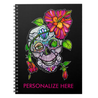 SUGAR SKULL & FLOWER SPIRAL NOTEBOOK