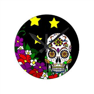 Sugar Skull, Flowers and Stars Round Clock