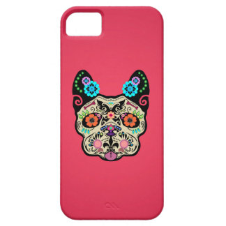 Sugar Skull Frenchie - Pink Case For The iPhone 5