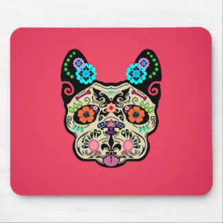 Sugar Skull Frenchie - Pink Mouse Mat