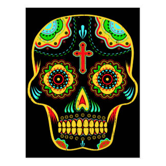 Sugar skull full color postcard