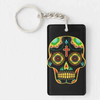 Sugar skull full color Single-Sided rectangular acrylic key ring