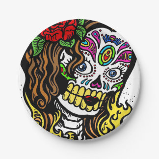 Sugar Skull Girl Paper Plate