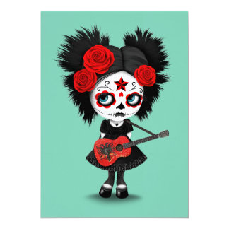 Sugar Skull Girl Playing Albanian Flag Guitar 13 Cm X 18 Cm Invitation Card