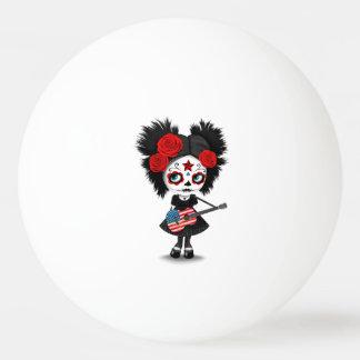 Sugar Skull Girl Playing American Flag Guitar Ping Pong Ball