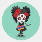 Sugar Skull Girl Playing Armenian Flag Guitar Classic Round Sticker