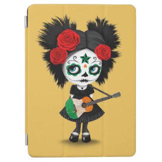 Sugar Skull Girl Playing Irish Flag Guitar iPad Air Cover