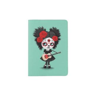 Sugar Skull Girl Playing Japanese Flag Guitar