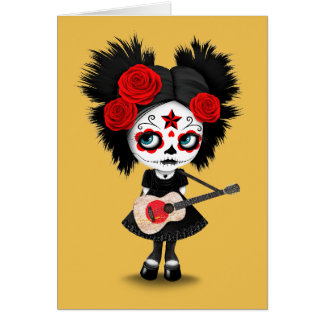 Sugar Skull Girl Playing Japanese Flag Guitar Note Card