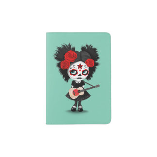 Sugar Skull Girl Playing Japanese Flag Guitar Passport Holder