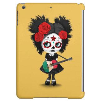 Sugar Skull Girl Playing Mexican Flag Guitar