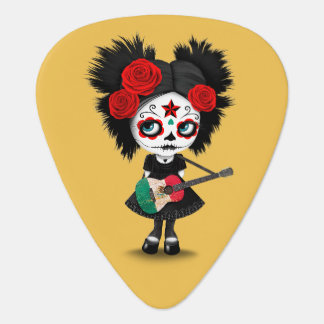 Sugar Skull Girl Playing Mexican Flag Guitar Guitar Pick