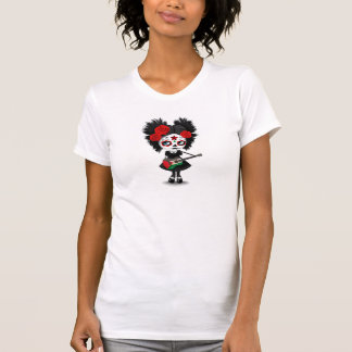 Sugar Skull Girl Playing Palestinian Flag Guitar T-Shirt