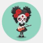 Sugar Skull Girl Playing Polish Flag Guitar Classic Round Sticker