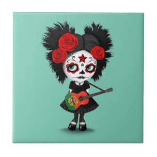 Sugar Skull Girl Playing Portuguese Flag Guitar Small Square Tile
