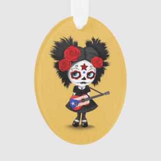 Sugar Skull Girl Playing Puerto Rican Flag Guitar