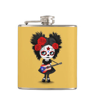 Sugar Skull Girl Playing Puerto Rican Flag Guitar Hip Flask