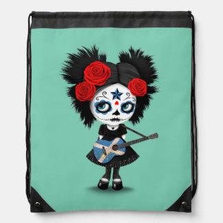 Sugar Skull Girl Playing Scottish Flag Guitar Backpacks