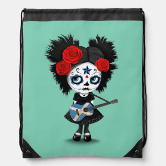 Sugar Skull Girl Playing Scottish Flag Guitar Drawstring Bag