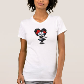 Sugar Skull Girl Playing Scottish Flag Guitar T-Shirt