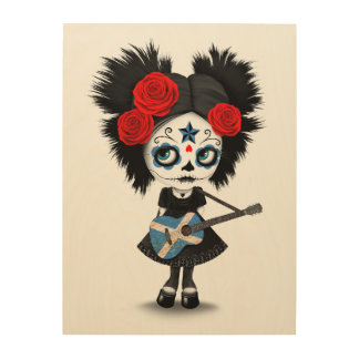 Sugar Skull Girl Playing Scottish Flag Guitar Wood Prints