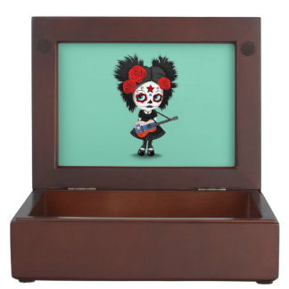 Sugar Skull Girl Playing Slovenian Flag Guitar Keepsake Box