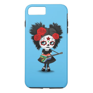 Sugar Skull Girl Playing South African Flag Guitar iPhone 7 Plus Case