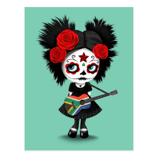 Sugar Skull Girl Playing South African Flag Guitar Postcard