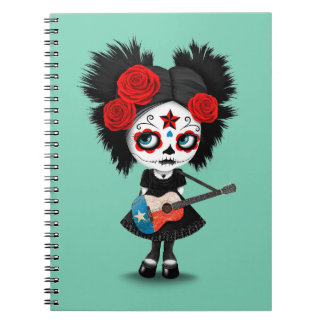Sugar Skull Girl Playing Texas Flag Guitar Spiral Note Book
