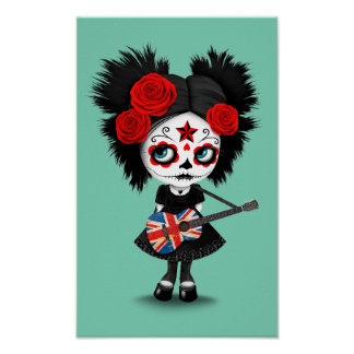 Sugar Skull Girl Playing Union Jack Guitar Poster