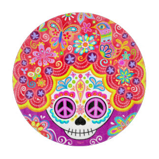 Sugar Skull Glass Cutting Board - Colorful Art!