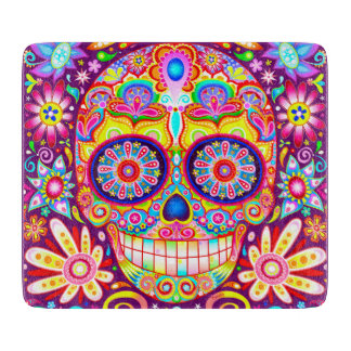Sugar Skull Glass Cutting Board - Colorful Art