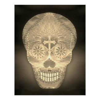 Sugar Skull, Gold Day of the Dead Poster