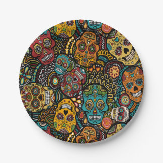 """SUGAR SKULL Halloween 7"""" Party Plates 7 Inch Paper Plate"""