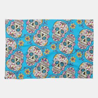 Sugar Skull Halloween Blue Tea Towel