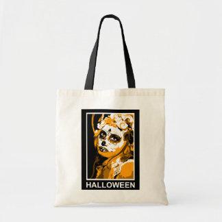 sugar skull halloween greetings canvas bag