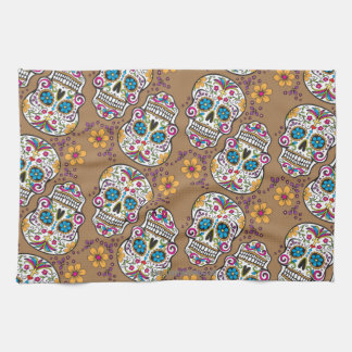 Sugar Skull Halloween Khaki Tea Towel