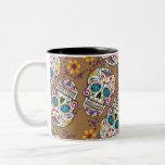 Sugar Skull Halloween Khaki Two-Tone Mug