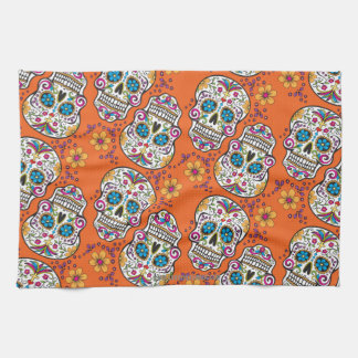 Sugar Skull Halloween Orange Tea Towel