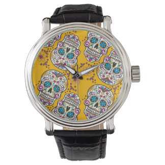 Sugar Skull Halloween Yellow Watch