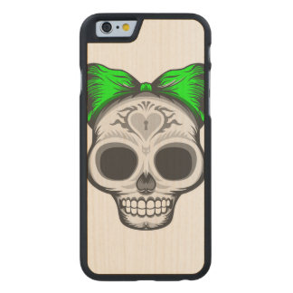 Sugar Skull Illustration Carved Maple iPhone 6 Case