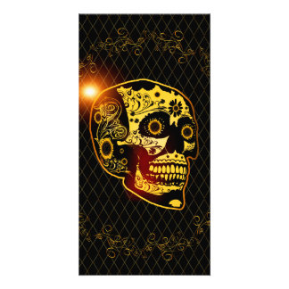 Sugar skull in gold and black photo cards