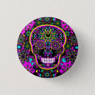 Sugar Skull in Neon Pink 3 Cm Round Badge