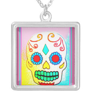 SUGAR SKULL IN PASTELS SILVER PLATED NECKLACE