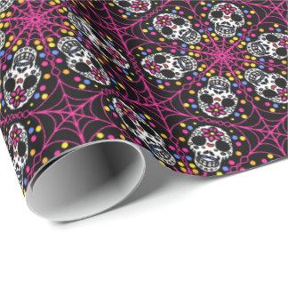 Sugar skull kaleidoscope Halloween gift wrap