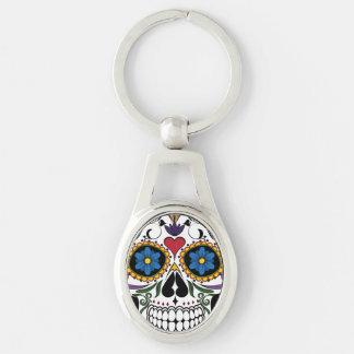Sugar Skull Keychain Silver-Colored Oval Key Ring