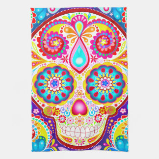 Sugar Skull Kitchen Towel - Day of the Dead Art