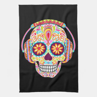 Sugar Skull Kitchen Towel - Skull with headphones