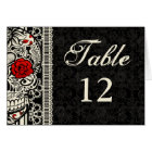 Sugar Skull & Lace Wedding Table Number Cards
