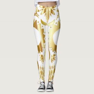 Sugar Skull Leggings, Gold White Leggings